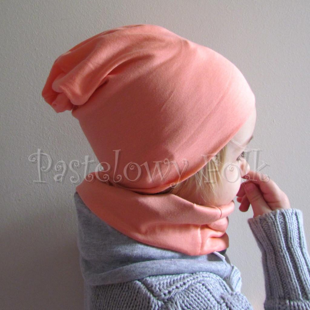 dziecko-czapka 31-beanie dzianinowa dla dziewczynki, łosowiowa pomarańczowa z szara kokardka -04