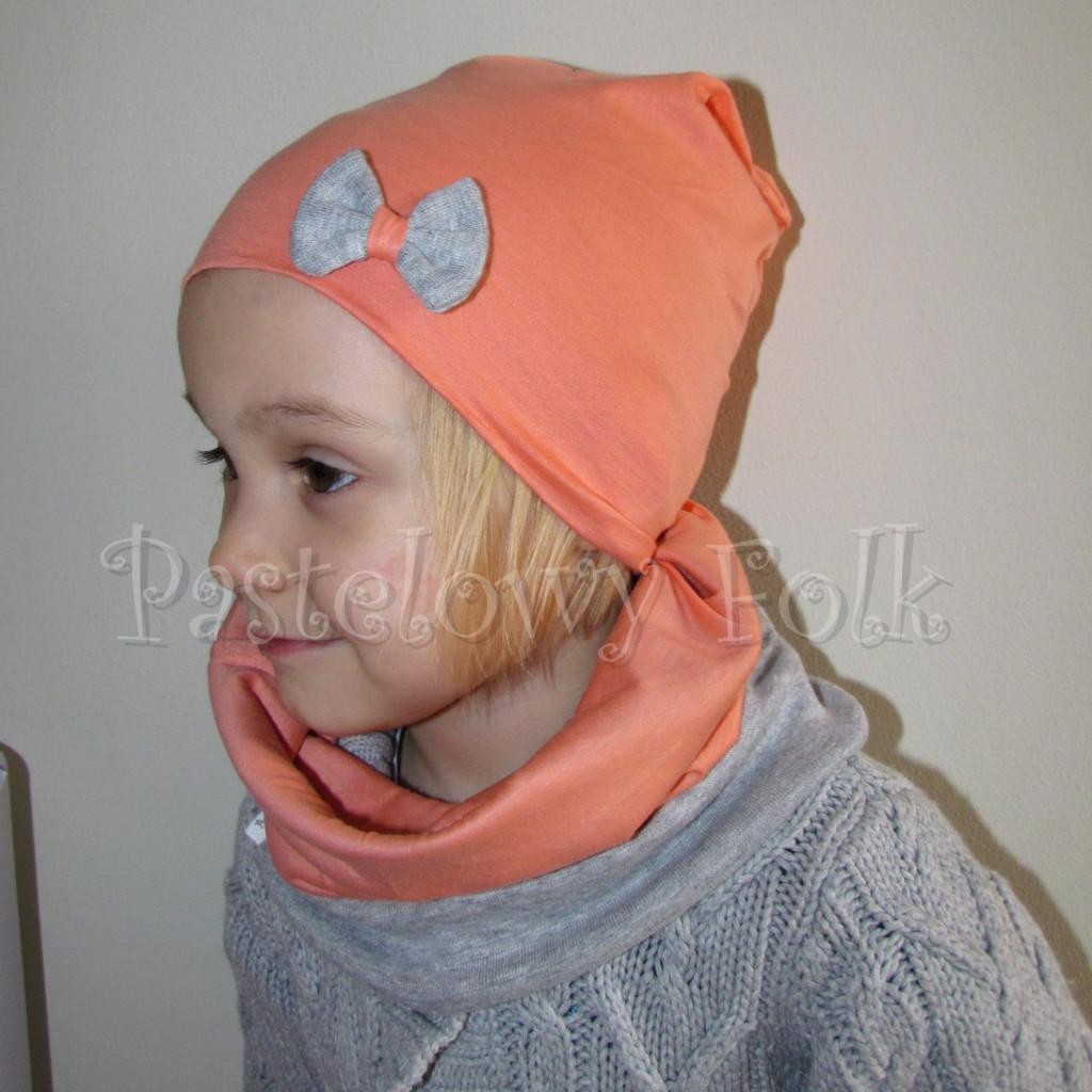 dziecko-czapka 31-beanie dzianinowa dla dziewczynki, łosowiowa pomarańczowa z szara kokardka -05