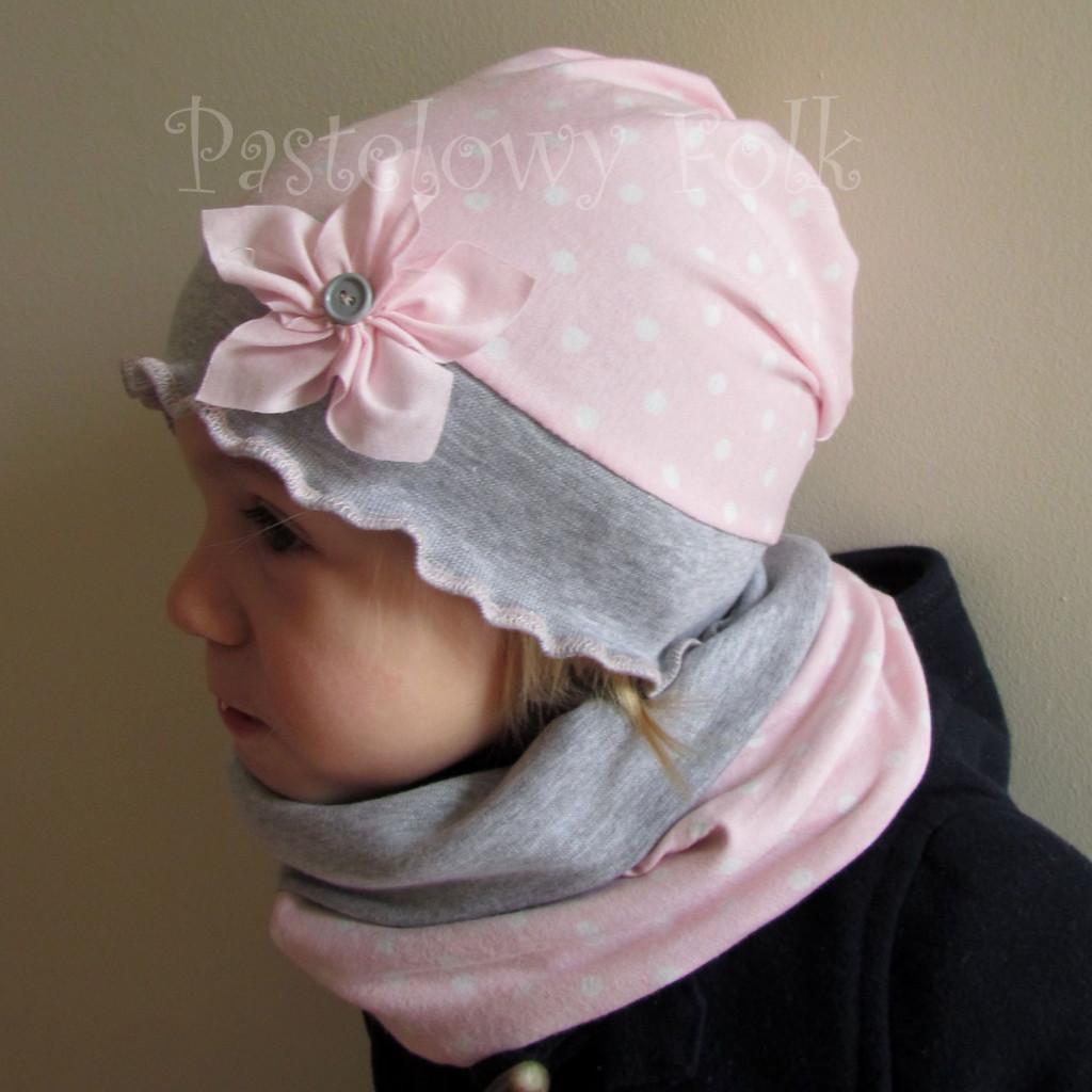 dziecko-czapka 38-dzianinowa dla dziewczynki,  różowa w białe kropki szara falbanka retro kwiatek-02