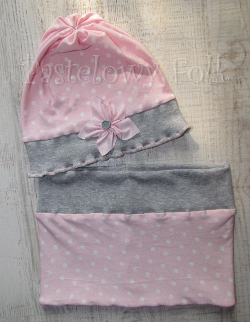 dziecko-czapka 38-dzianinowa dla dziewczynki,  różowa w białe kropki szara falbanka retro kwiatek-08