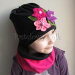 dziecko-czapka 38- komin czarny fuksja, różowe kwiaty filcowe, dzianina, dziewczynka _05