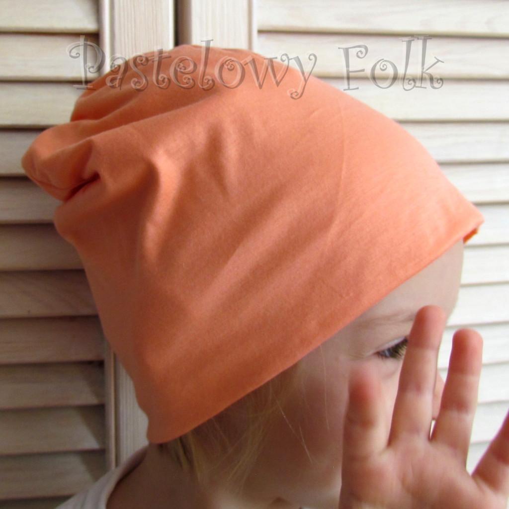 dziecko-czapka 62-dzianinowa dziecieca łososiowa beanie pomarańczowa-01
