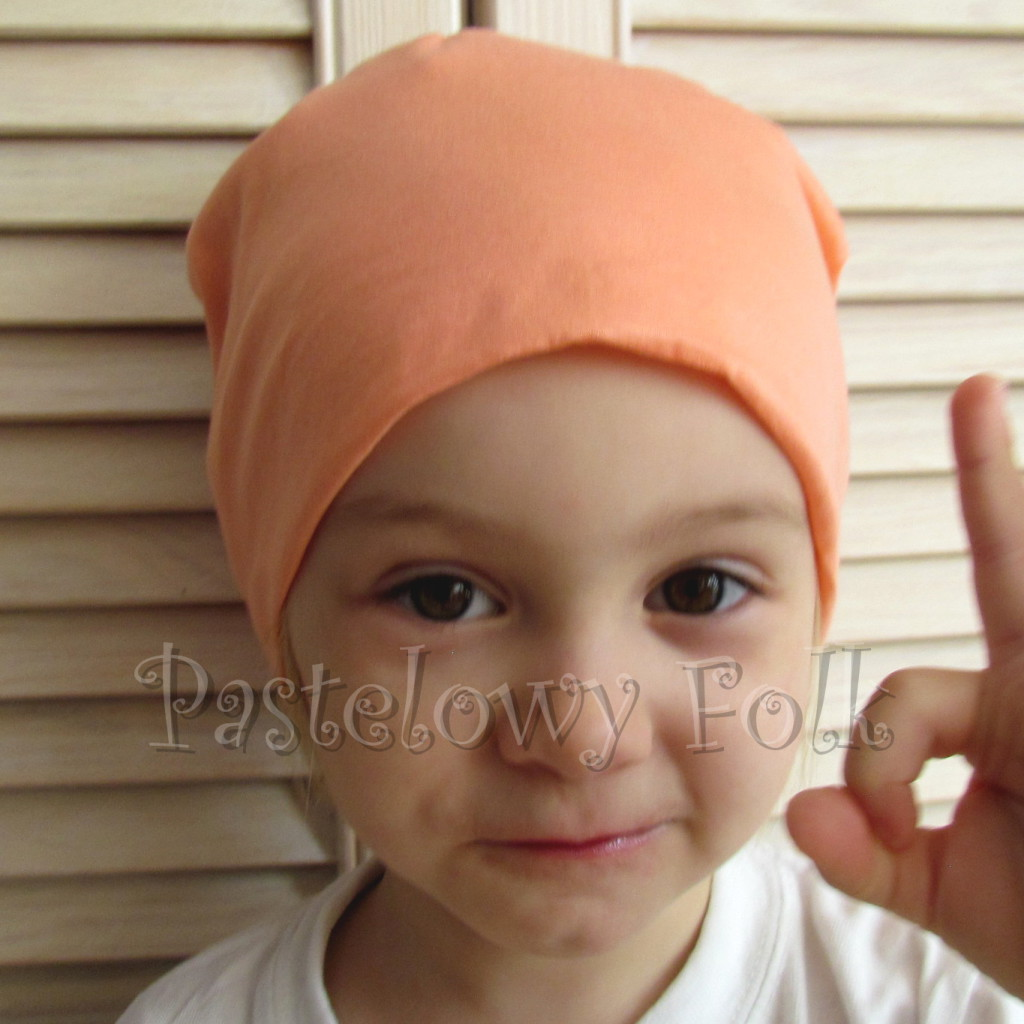 dziecko-czapka 62-dzianinowa dziecieca łososiowa beanie pomarańczowa-02