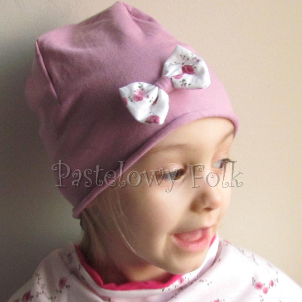dziecko-czapka 63 b- wrzosowa róż z białą kokardą w różyczki dzianina, dziewczynka_01