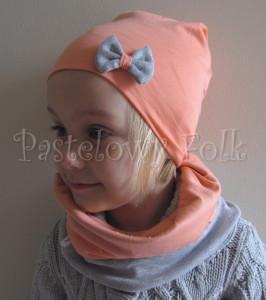 dziecko-komin 34-mały pastelowy dzianinowy dwustronny szary łososiowy pomarańczowy-05