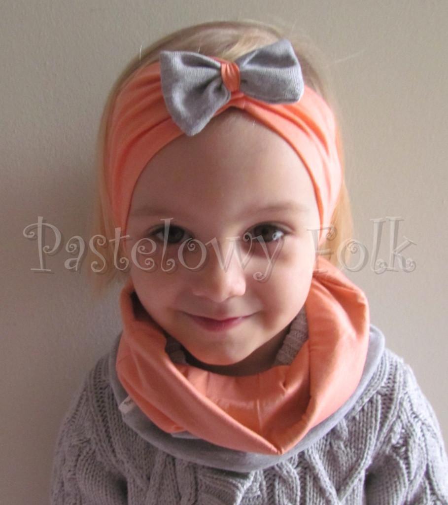 dziecko-komin 34-mały pastelowy dzianinowy dwustronny szary łososiowy pomarańczowy-06