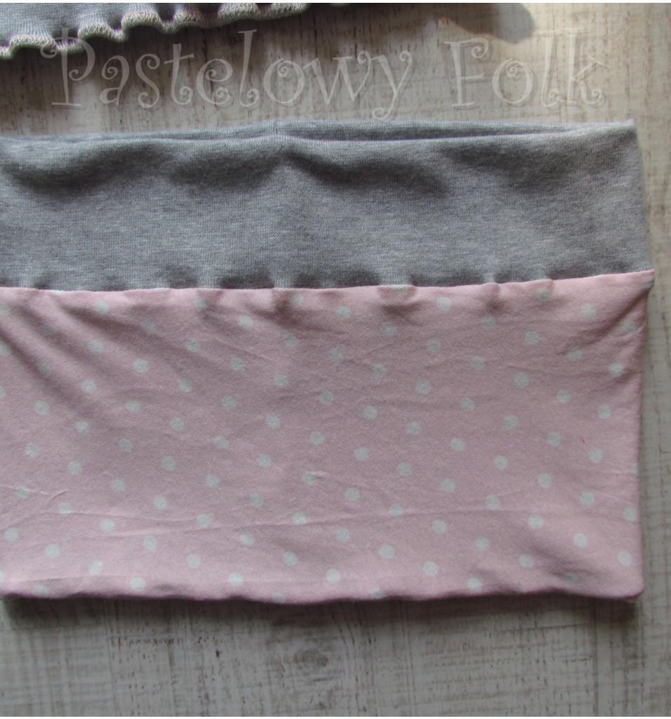 dziecko-komin 40-dzianinowy dla dziewczynki,  różowy w białe kropki szary dresówka-01