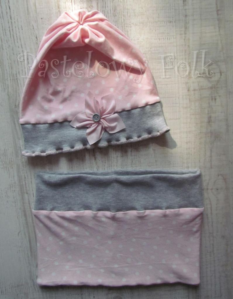 dziecko-komin 40-dzianinowy dla dziewczynki,  różowy w białe kropki szary dresówka-03