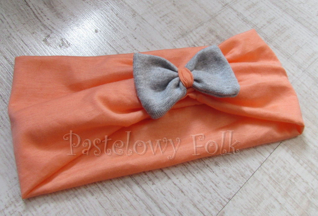 dziecko-opaska 20- dla dziewczynki łosowiowa pomarańczowa z szara retro kokardka -02
