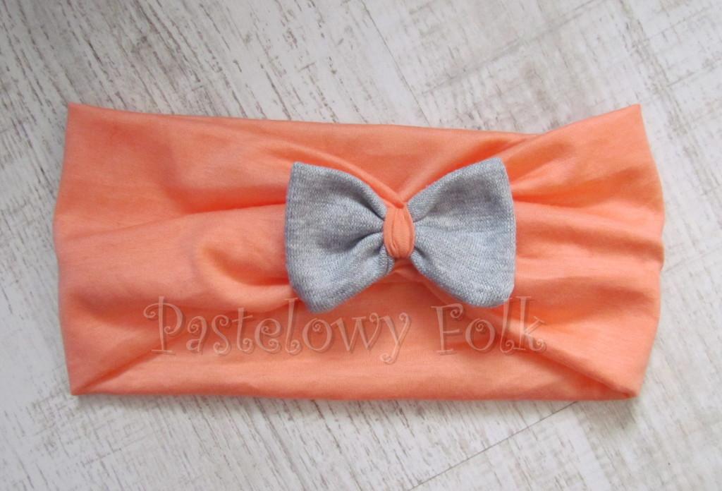 dziecko-opaska 20- dla dziewczynki łosowiowa pomarańczowa z szara retro kokardka -03