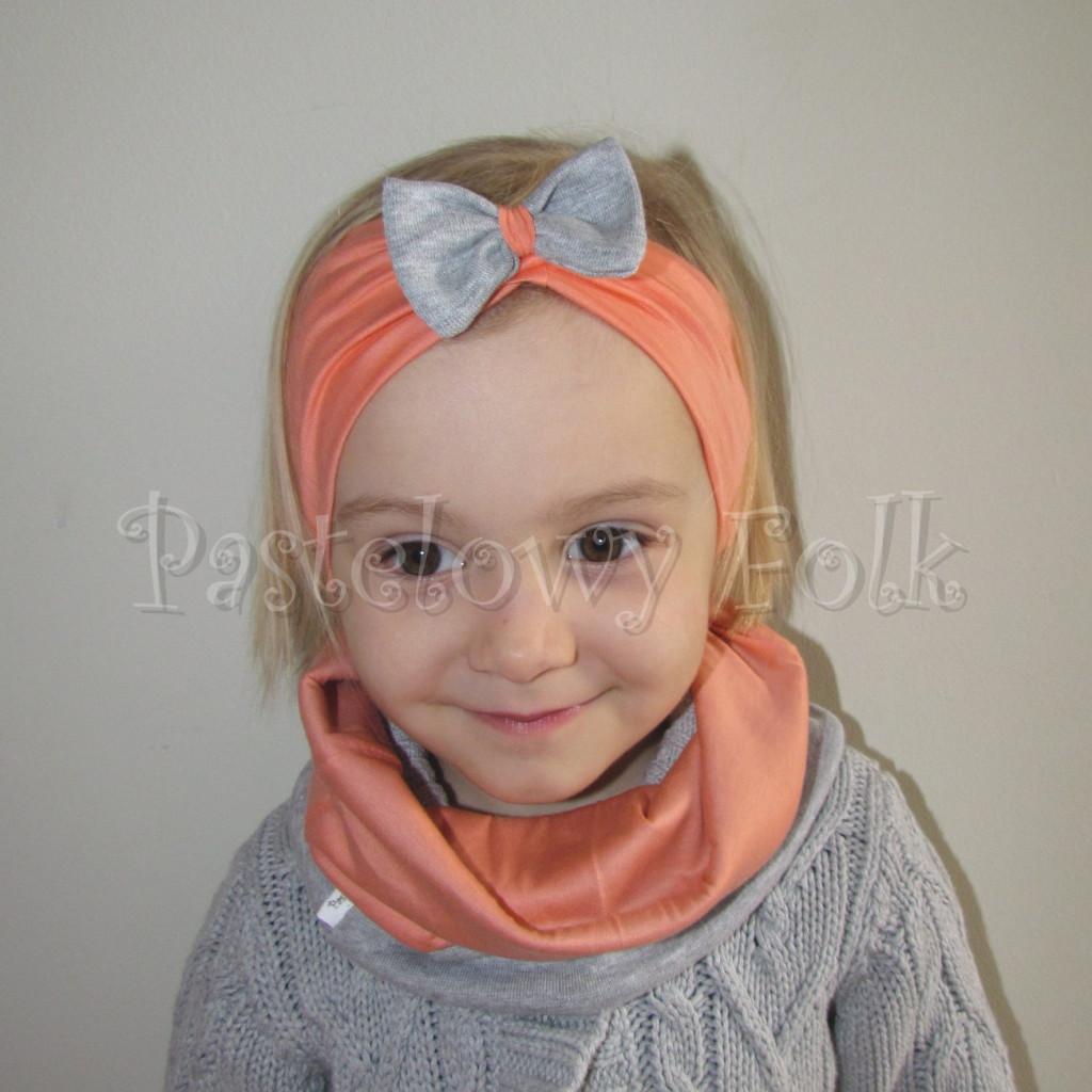 dziecko-opaska 20- dla dziewczynki łosowiowa pomarańczowa z szara retro kokardka -04