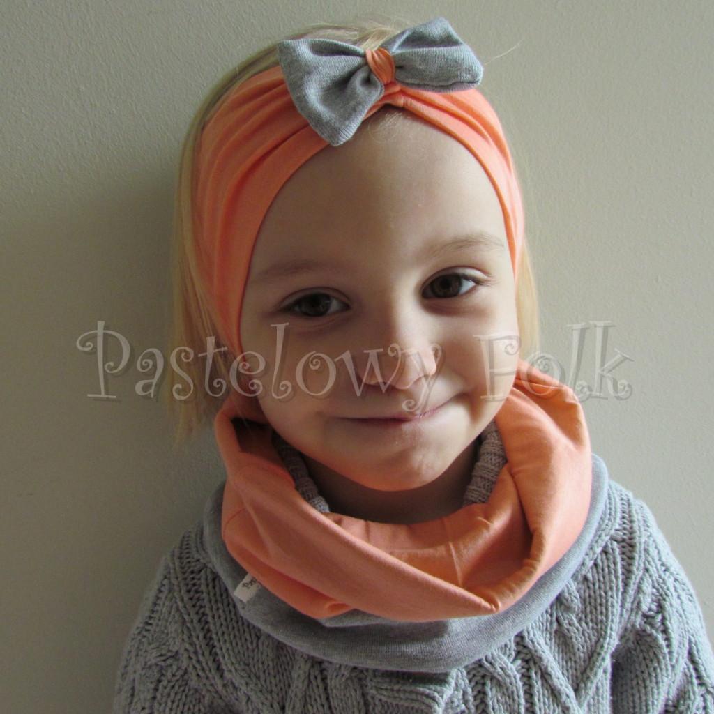 dziecko-opaska 20- dla dziewczynki łosowiowa pomarańczowa z szara retro kokardka -06