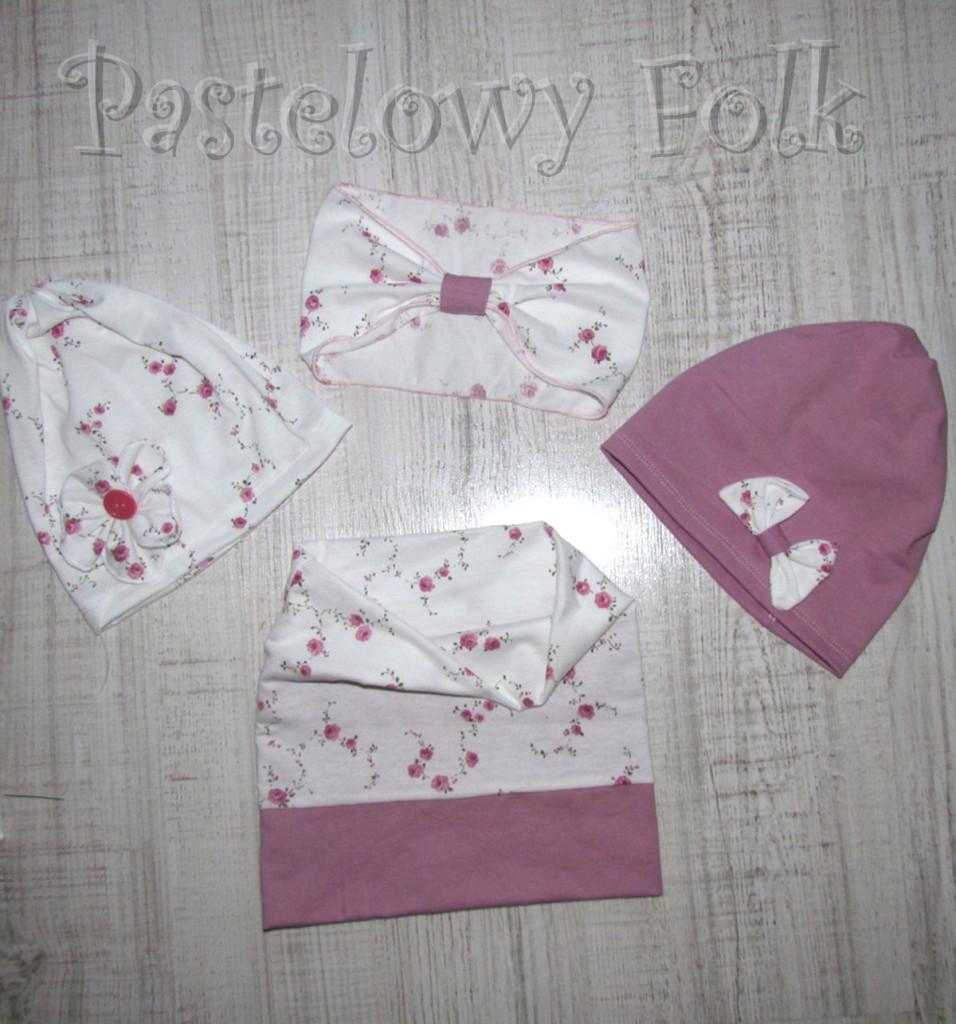 dziecko-opaska 26- dla dziewczynki komplet czapka komin -biała w różyczki, wrzosowa, wiosenna letnia, dzianinowa -10