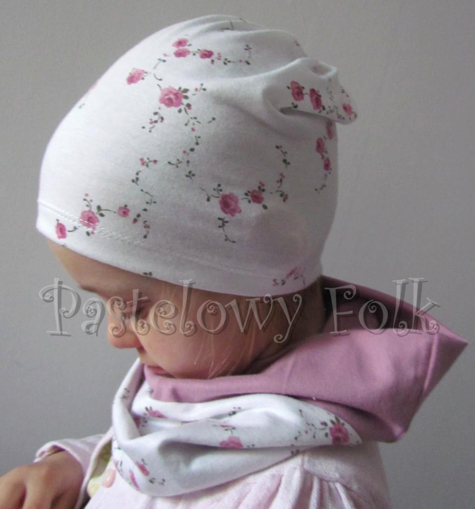 dziecko-opaska 26- dla dziewczynki komplet czapka komin -biała w różyczki, wrzosowa, wiosenna letnia, dzianinowa -13