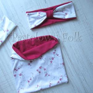 dziecko-opaska  26C- dla dziewczynki komin, biała w różyczki, ciemny różowy pasek, wiosenna letnia, dzianinowa -03