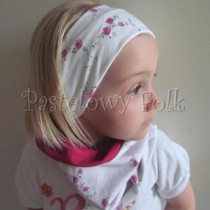 dziecko-opaska 26C- dla dziewczynki komin, biała w różyczki, ciemny różowy pasek, wiosenna letnia, dzianinowa -06