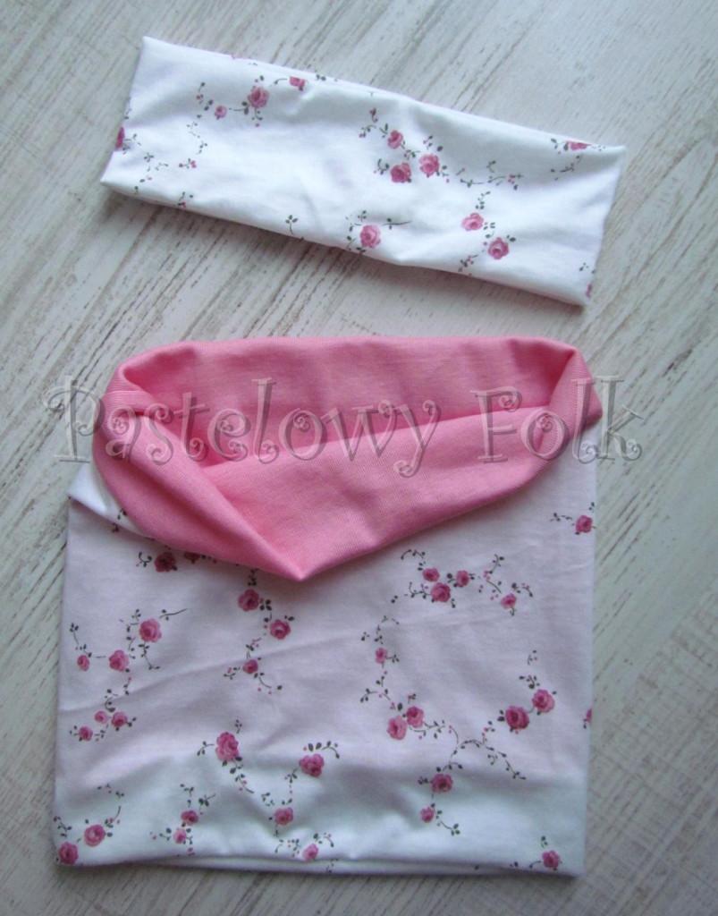 dziecko-opaska  26D- dla dziewczynki komin, biała w różyczki, różowy pasek, wiosenna letnia, dzianinowa -01