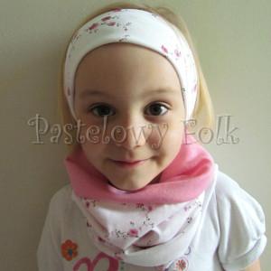 dziecko-opaska  26D- dla dziewczynki komin, biała w różyczki, różowy pasek, wiosenna letnia, dzianinowa -03