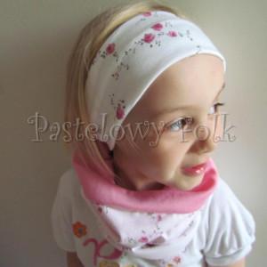 dziecko-opaska 26D- dla dziewczynki komin, biała w różyczki, różowy pasek, wiosenna letnia, dzianinowa -04