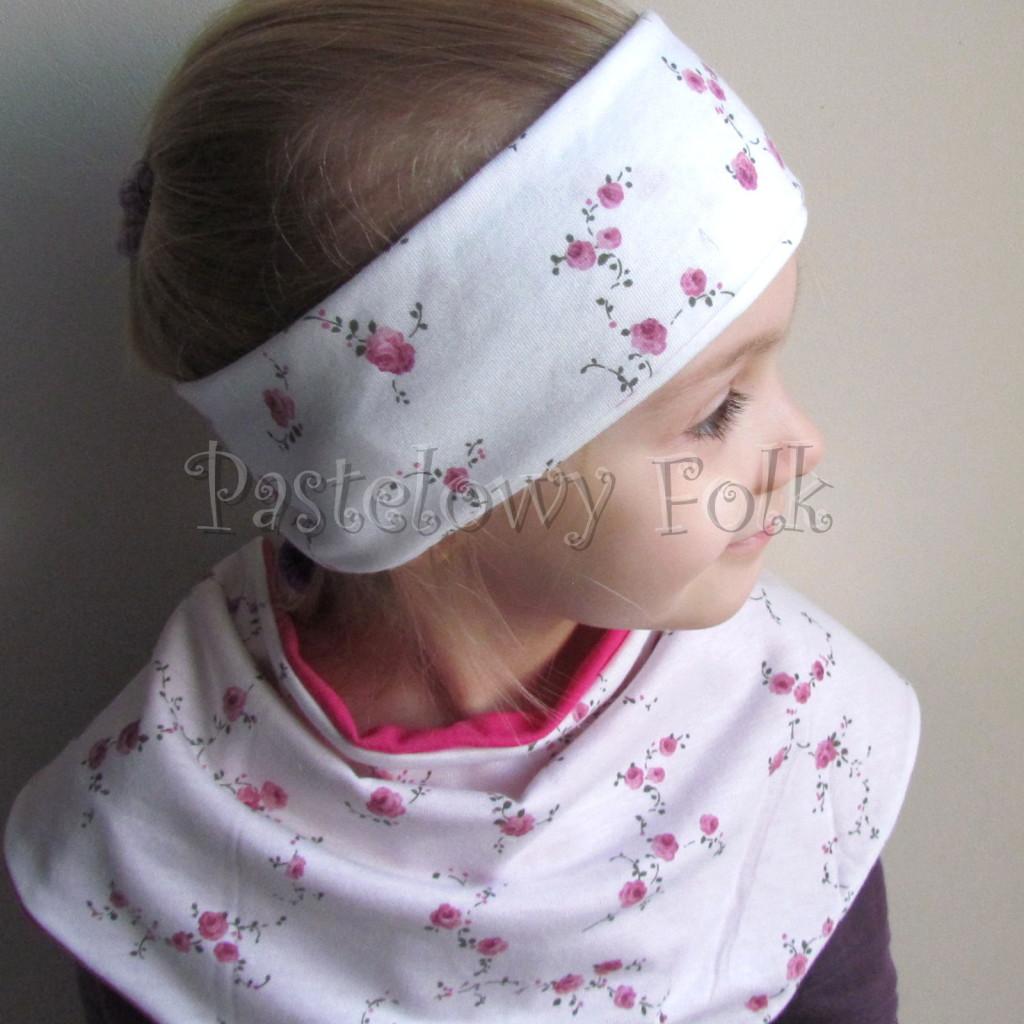 dziecko-opaska  26D- dla dziewczynki komin, biała w różyczki, różowy pasek, wiosenna letnia, dzianinowa -08