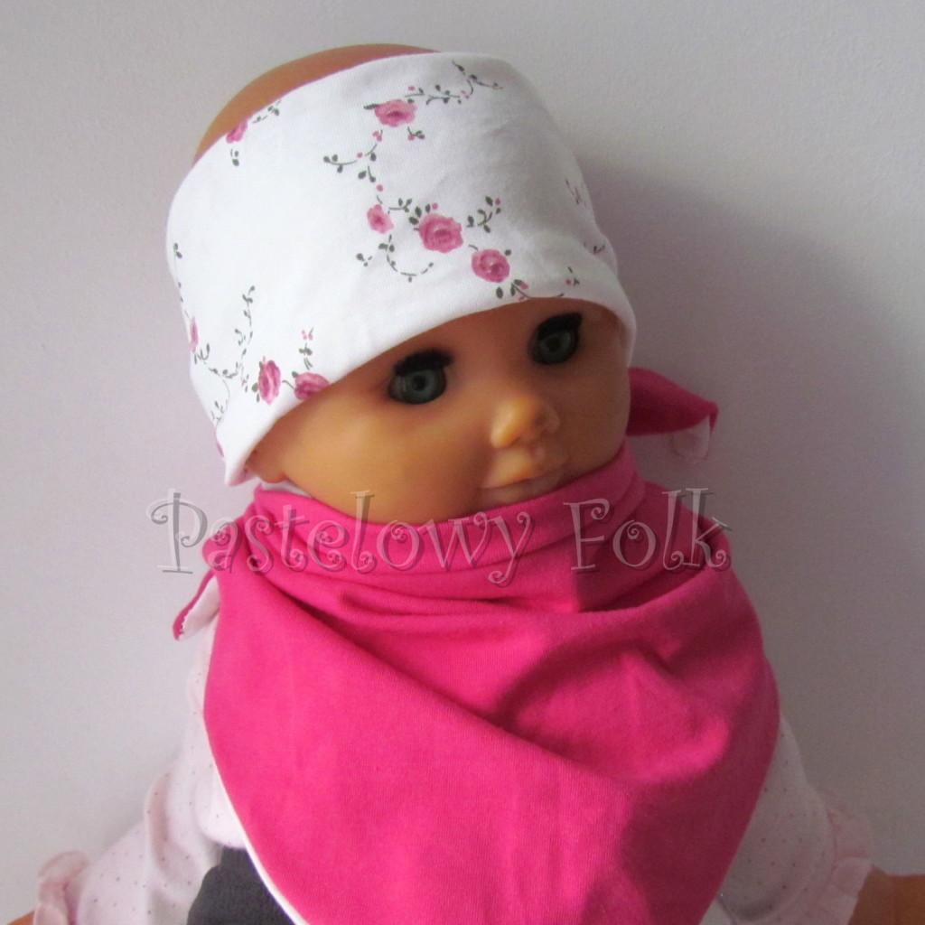 dziecko-opaska  26D- dla dziewczynki komin, biała w różyczki, różowy pasek, wiosenna letnia, dzianinowa -09