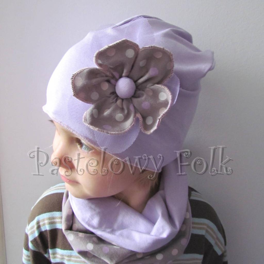 dziecko-czapka 28B-dzianinowa dla dziewczynki, fioletowa z retro kwiatem w groszki -10