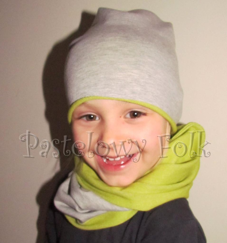 dziecko-czapka 72- komin opaska komplet, szara,zielona seledynowa dzianinowa beanie dla chłopca dziewczynki-04