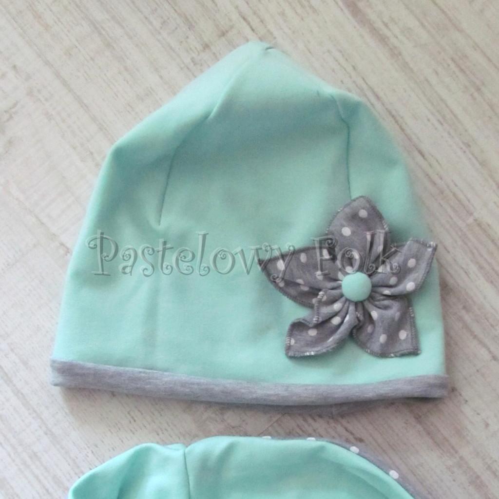 dziecko-czapka 73d- mietowa z kwiatkiem szarym w biale kropki grochy, dwuwarstwowa komin -05