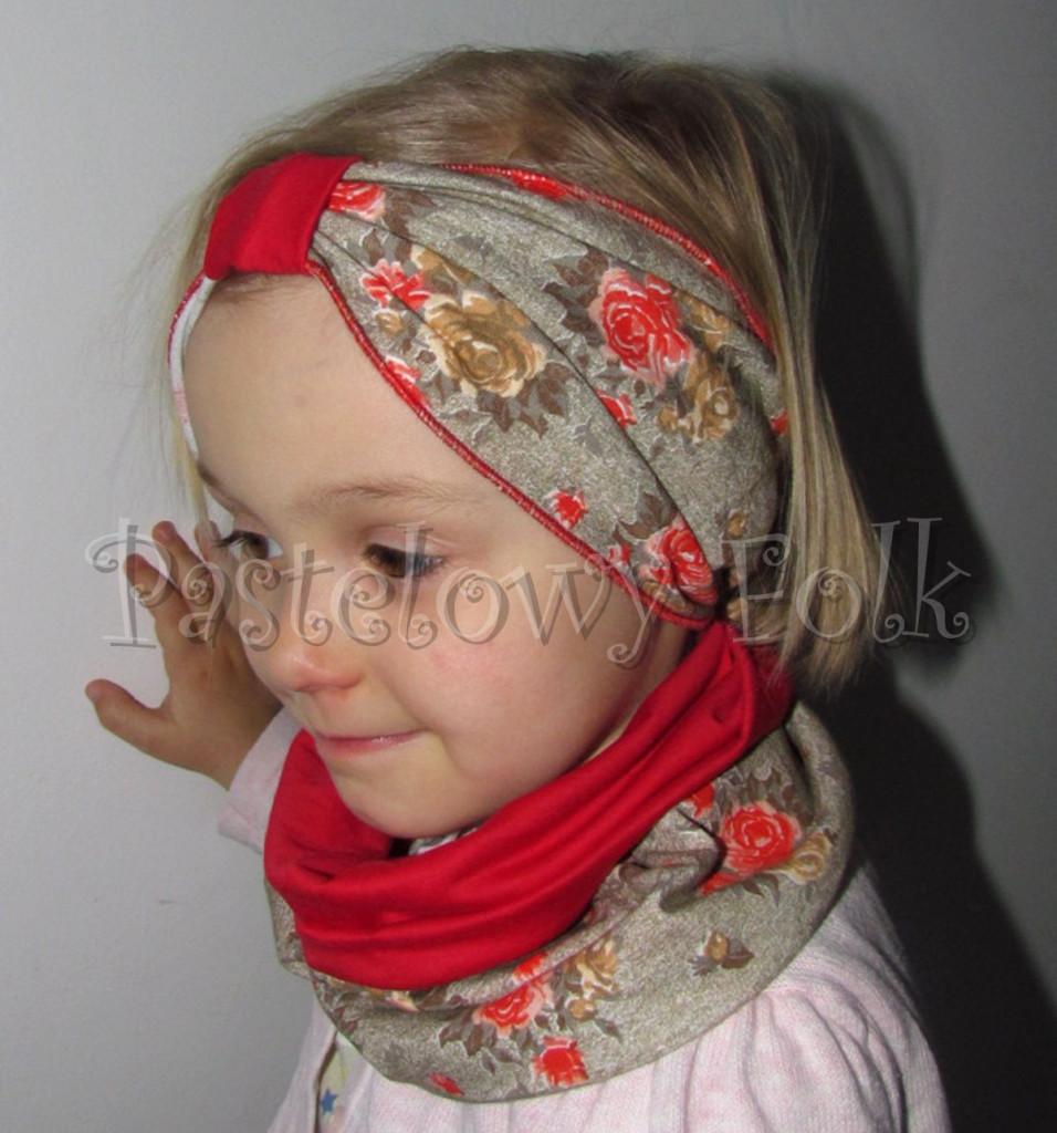 dziecko-czapka 74- komin opaska komplet, czerwona bezowa w roze -01