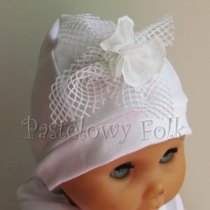 dziecko-czapka 77b- komplet, biała ecru do chrzru, roczek, chrzest kwaiat retro-01