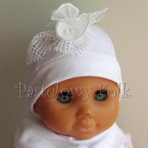 dziecko-czapka 77b- komplet, biała ecru do chrzru, roczek, chrzest kwaiat retro-03
