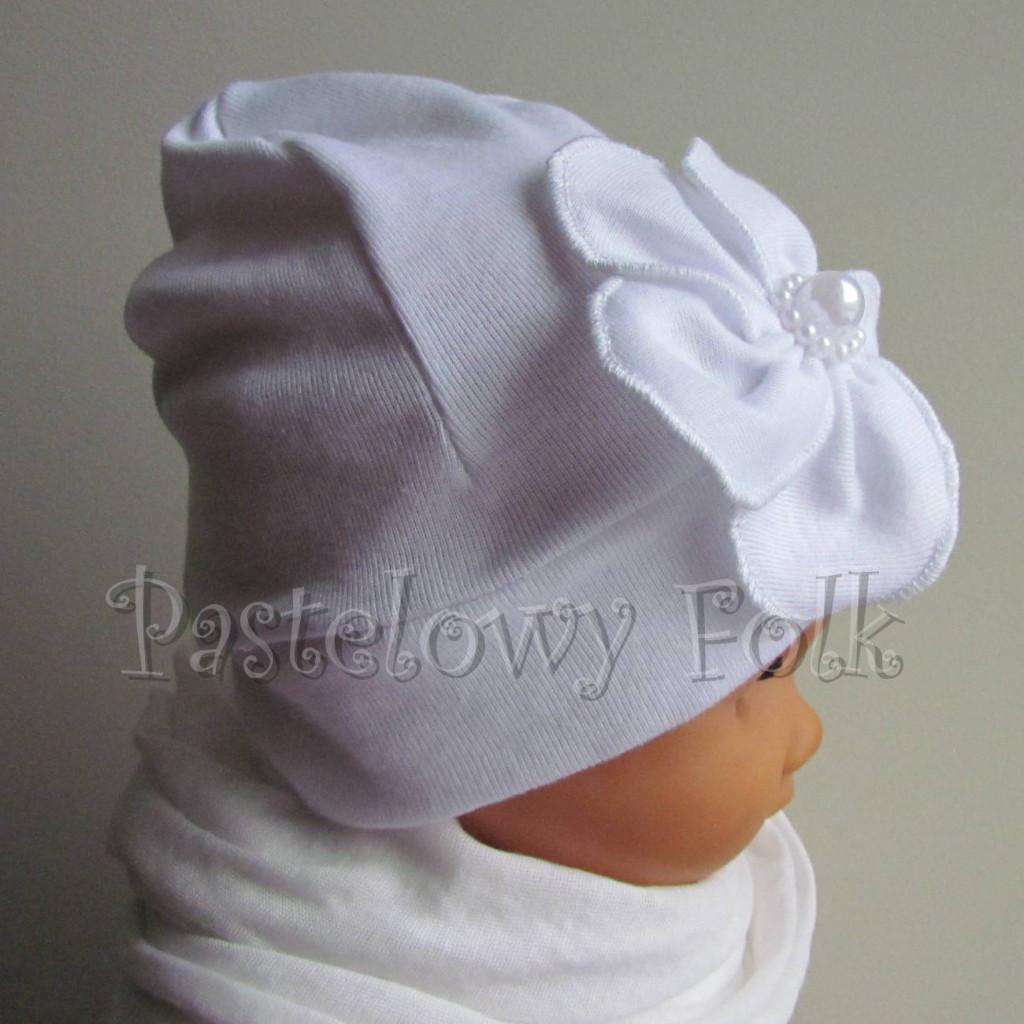 dziecko-czapka 78- biała ecru do chrzru, roczek, chrzest kwiat retro i perełki-03