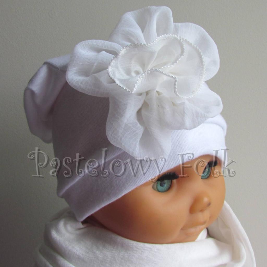 dziecko-czapka 79-  biała ecru  do chrzru, roczek, chrzest kwiat retro -02
