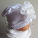 dziecko-czapka 79- biała ecru do chrzru, roczek, chrzest kwiat retro -03