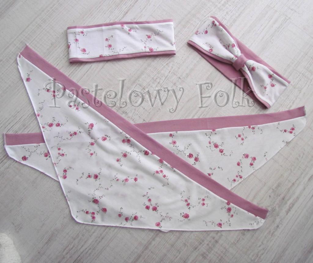 dziecko-opaska  26- dla dziewczynki chustka biała w różyczki, wrzowosy pasek, wiosenna letnia, dzianinowa -02
