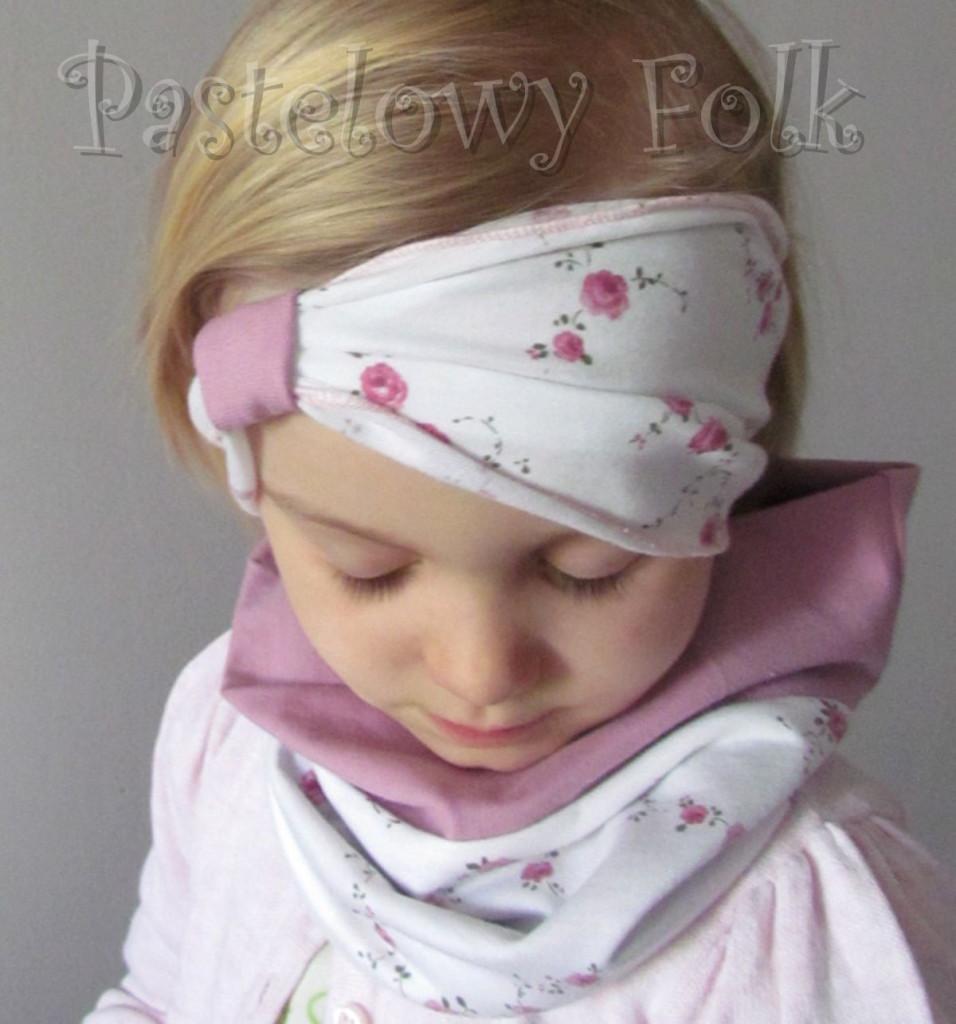 dziecko-opaska 26- dla dziewczynki komplet czapka komin -biała w różyczki, wrzosowa, wiosenna letnia, dzianinowa -11