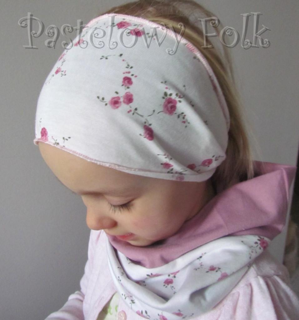 dziecko-opaska 26- dla dziewczynki komplet czapka komin -biała w różyczki, wrzosowa, wiosenna letnia, dzianinowa -12