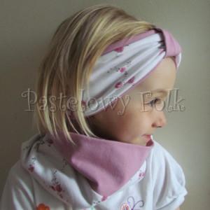 dziecko-opaska 26B- dla dziewczynki komin, biała w różyczki, wrzowosy różowy pasek, wiosenna letnia, dzianinowa -01