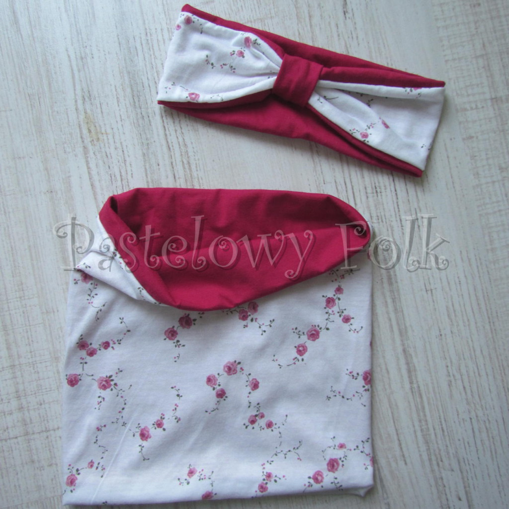 dziecko-opaska  26C- dla dziewczynki komin, biała w różyczki, ciemny różowy pasek, wiosenna letnia, dzianinowa -02