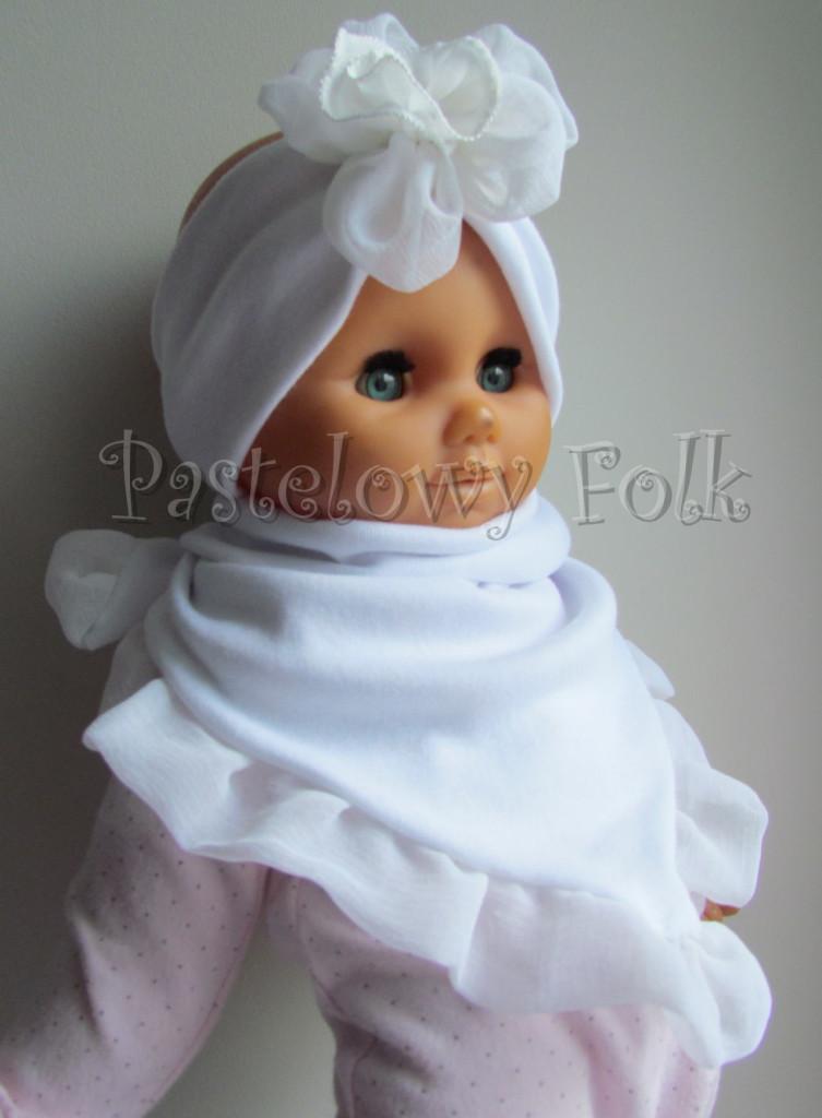 dziecko-opaska 31-  biała ecru  do chrztu, roczek, chrzest kwiat retro -06