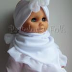 Biała chustka z falbanką na chrzest, roczek 03