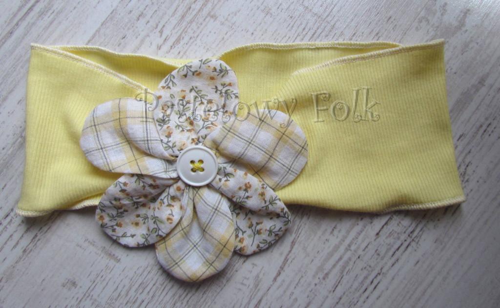 dziecko-opaska 34- zolta wiosenna duzy kwiat retro w kratke i kwiatki bialy-01