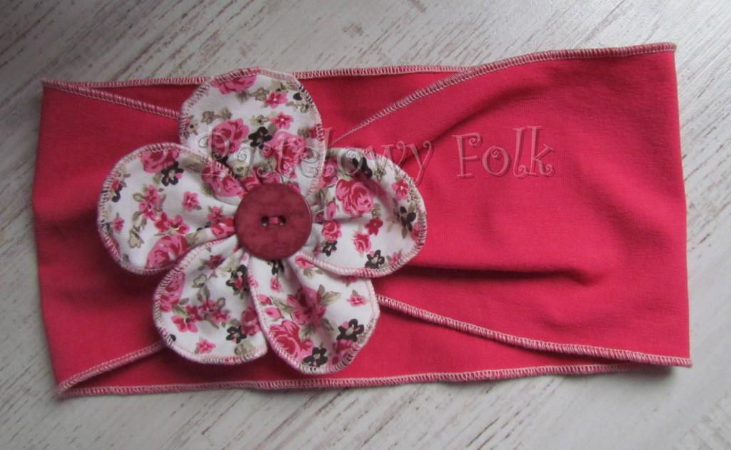 dziecko-opaska 35- rozowa malinowa wiosenna duzy kwiat retro w roze rozyczki-01