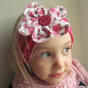 dziecko-opaska 35- rozowa malinowa wiosenna duzy kwiat retro w roze rozyczki-02