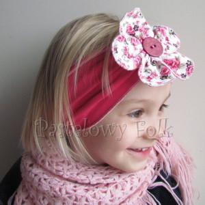 dziecko-opaska 35- rozowa malinowa wiosenna duzy kwiat retro w roze rozyczki-03