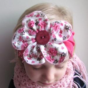 dziecko-opaska 35- rozowa malinowa wiosenna duzy kwiat retro w roze rozyczki-07