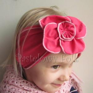 dziecko-opaska 36- rozowa malinowa wiosenna duzy kwiat retro-04