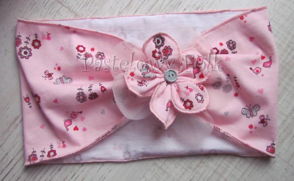 dziecko-opaska 37- rozowa wiosenna kwiat retro motylek kwiatek-01
