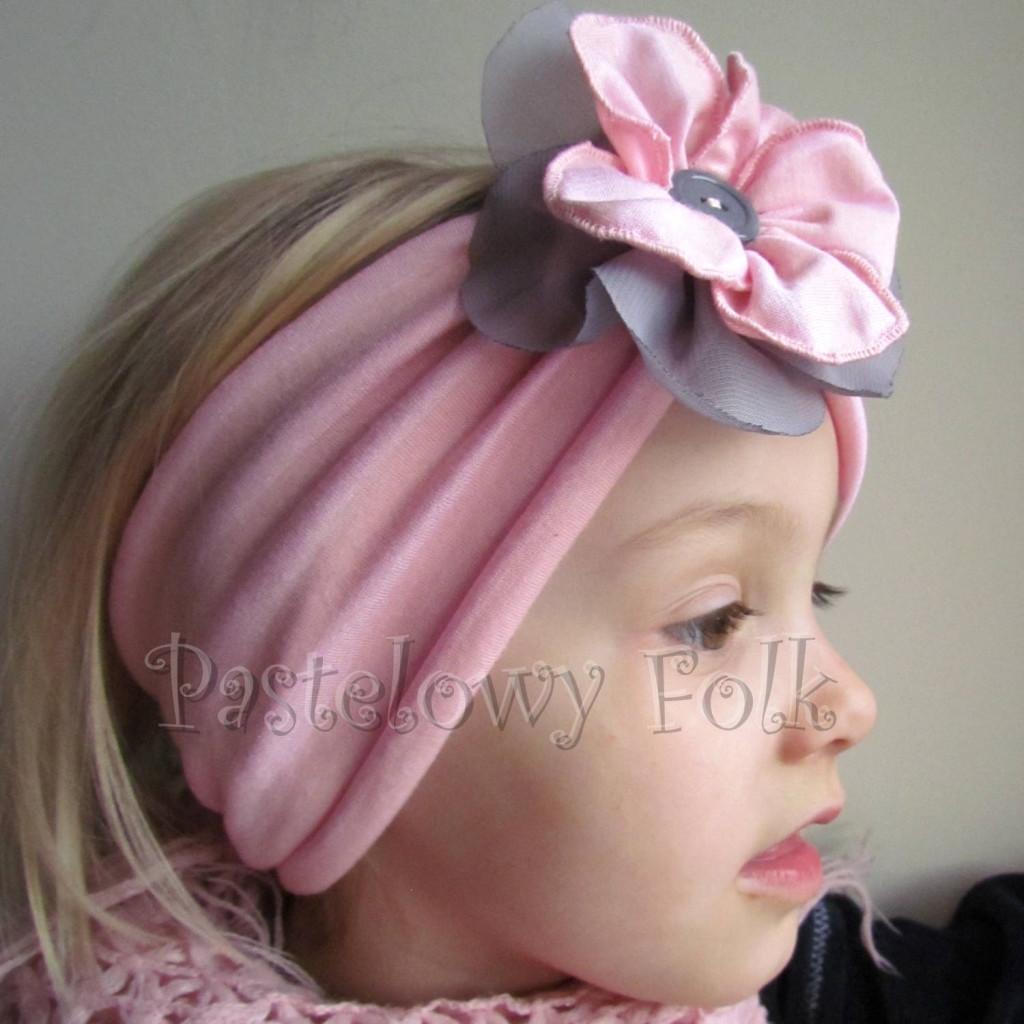 dziecko-opaska 38- rozowa wiosenna łososiowa kwiat retro szary guzik-02
