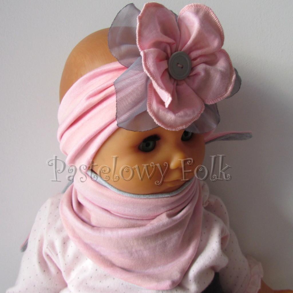 dziecko-opaska 38- rozowa wiosenna łososiowa kwiat retro szary guzik-15